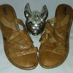 "Born tan real leather 3"" wedge sandals sz9"